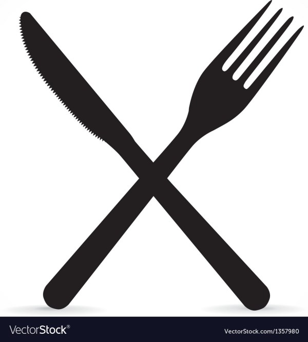 Crossed fork and knife Royalty Free Vector Image