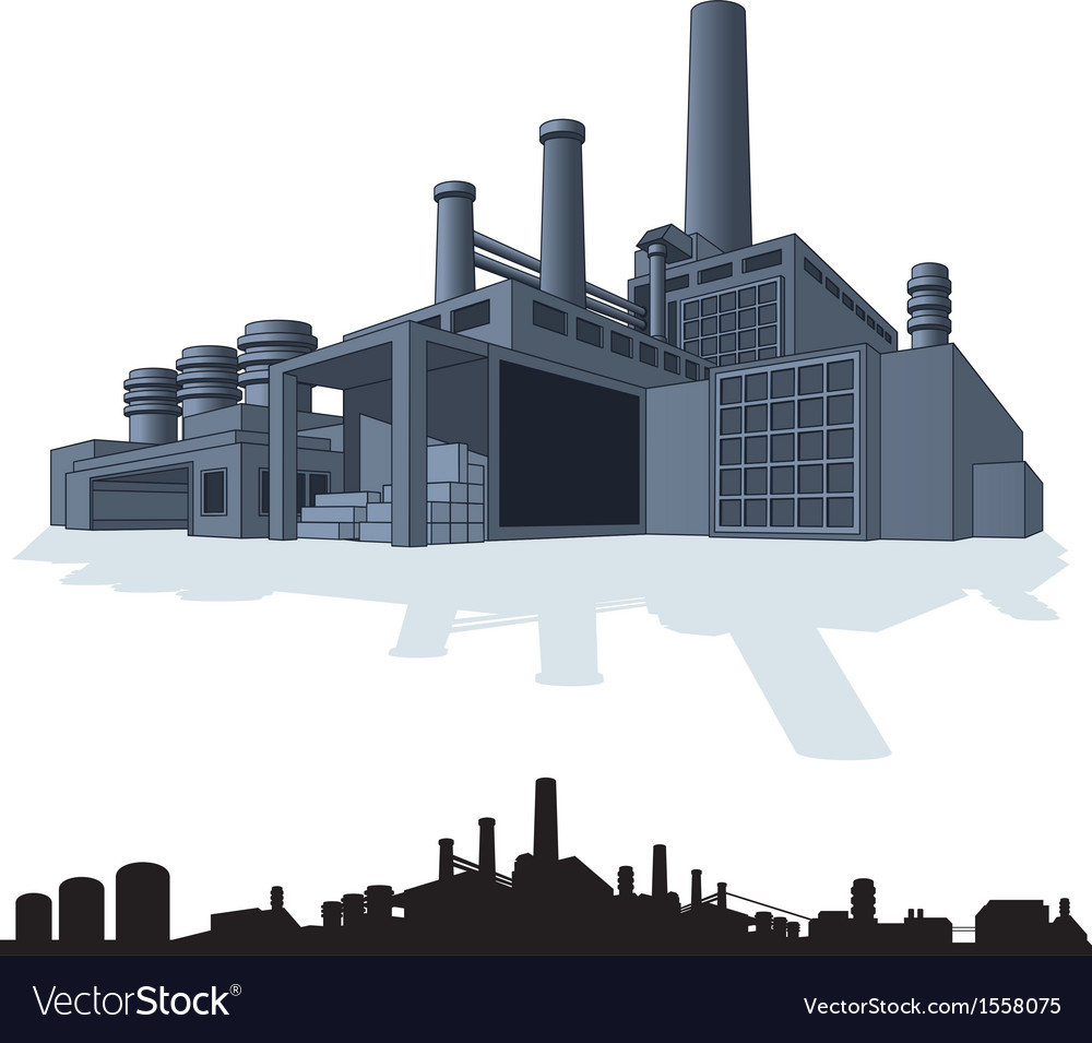 abstract large factory 3d