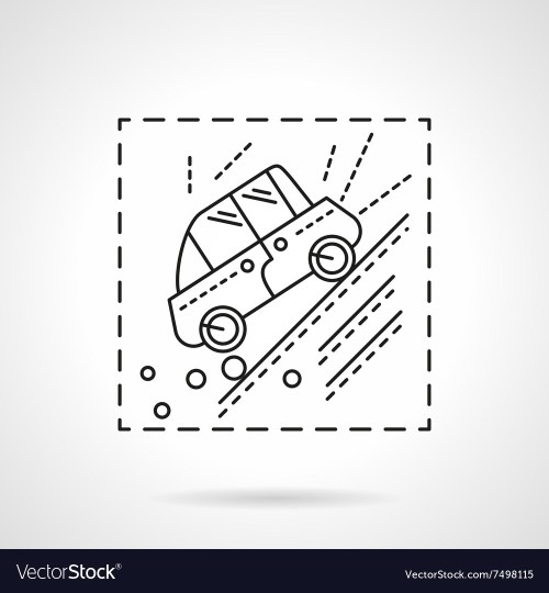 small resolution of car accident in the mountains line icon vector image