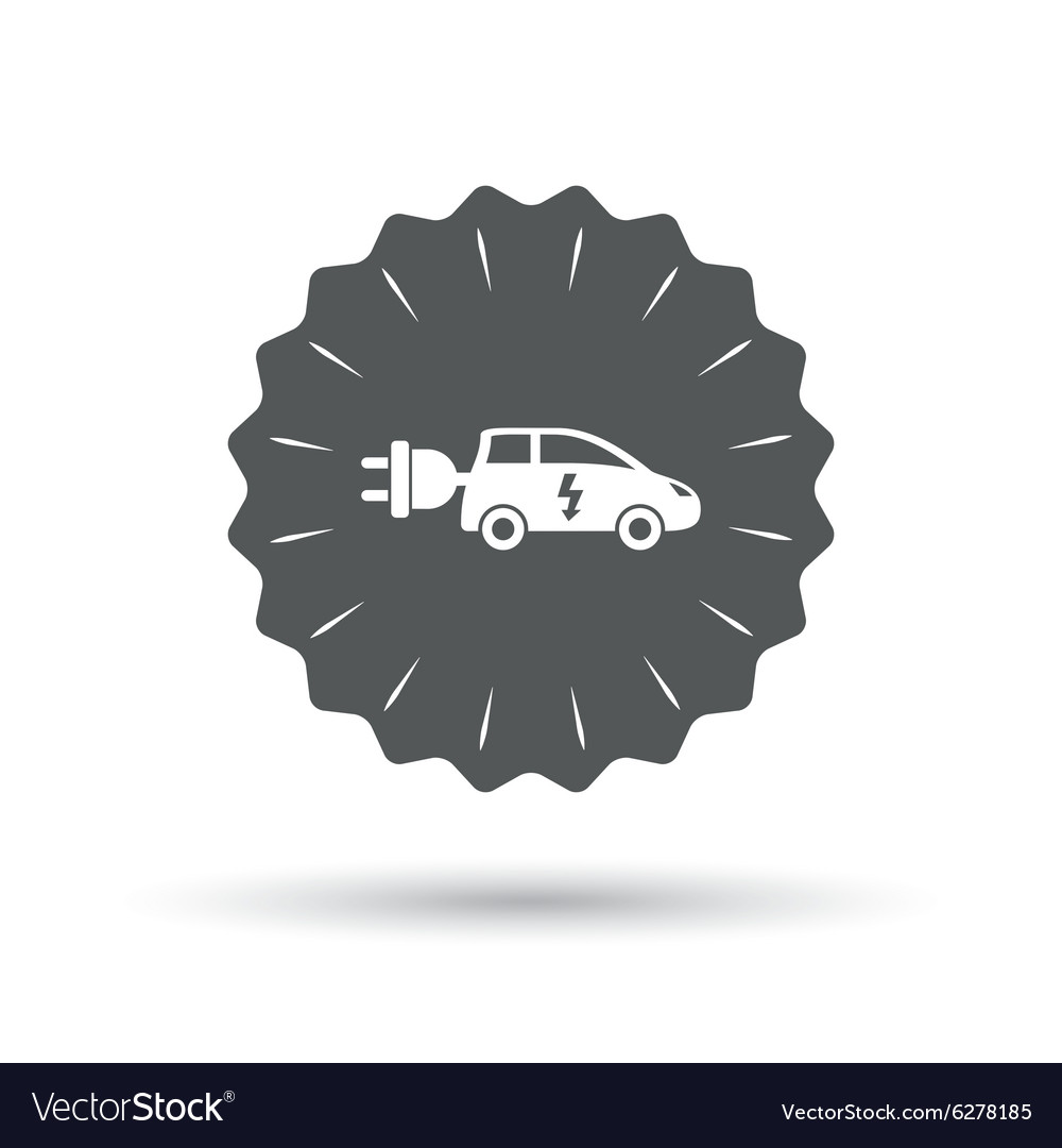 hight resolution of electric car sign icon hatchback symbol vector image