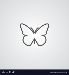 Butterfly outline symbol dark on white background Vector Image