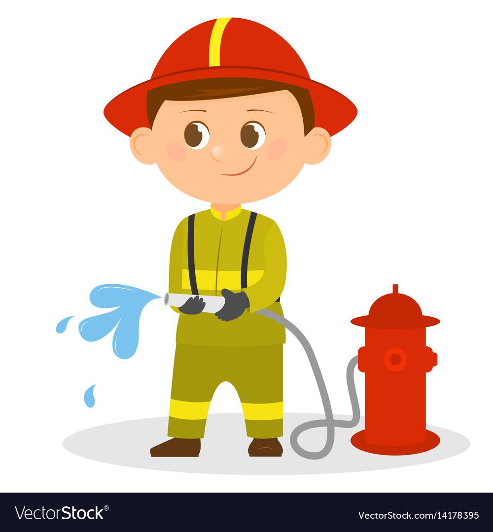 cartoon fireman with a