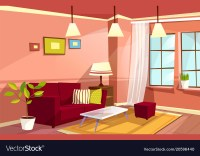 Cartoon living room apartment interior Royalty Free Vector