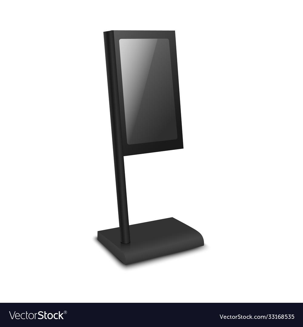 30% off all premium plans. Black Digital Signage Kiosk Mockup In Flag Shape Vector Image