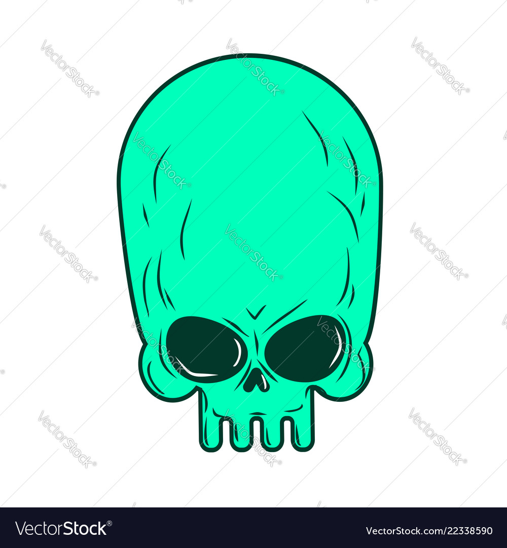 medium resolution of alien skull isolated ufo head skeleton vector image