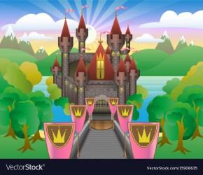 Fairytale beautiful castle Royalty Free Vector Image