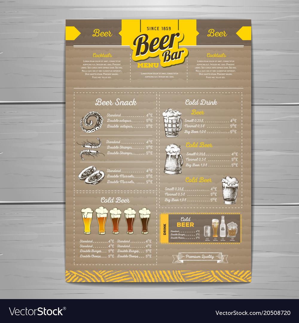 Vintage beer menu design on cardboard background Vector Image