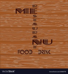 Restaurant menu on a wooden background Royalty Free Vector