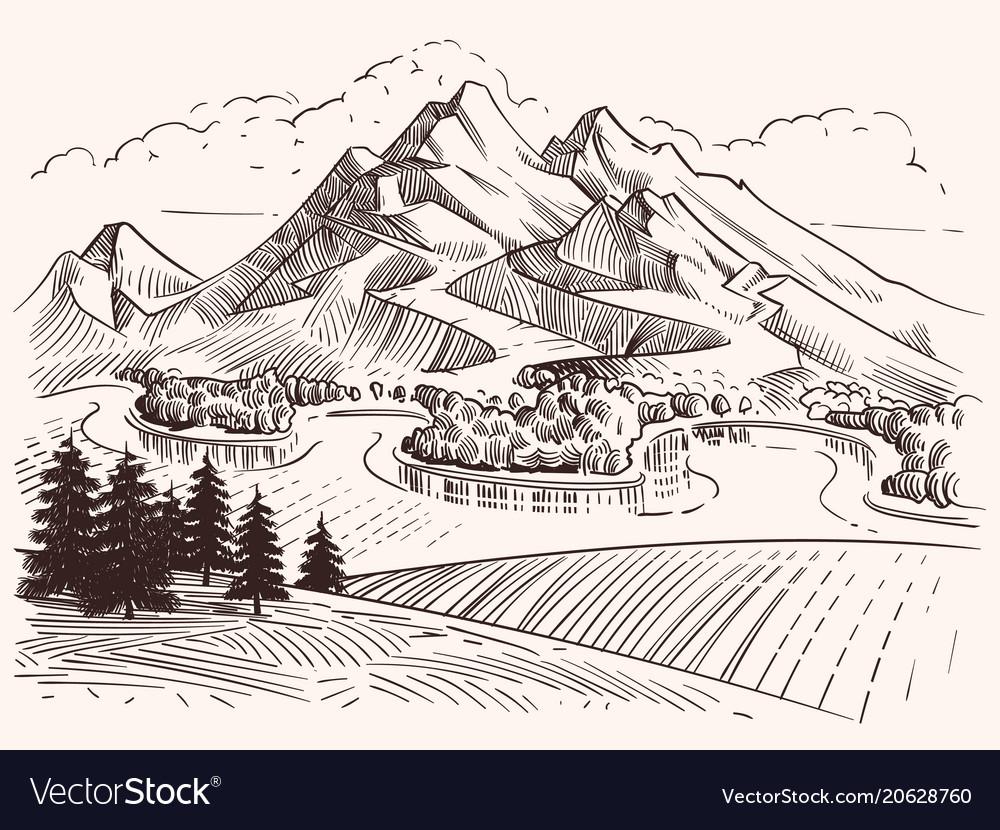 pencil drawing mountain landscape
