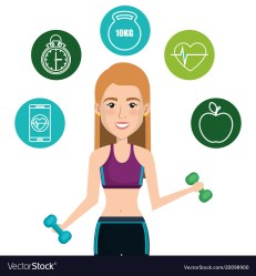 Female athlete with fitness icons Royalty Free Vector Image