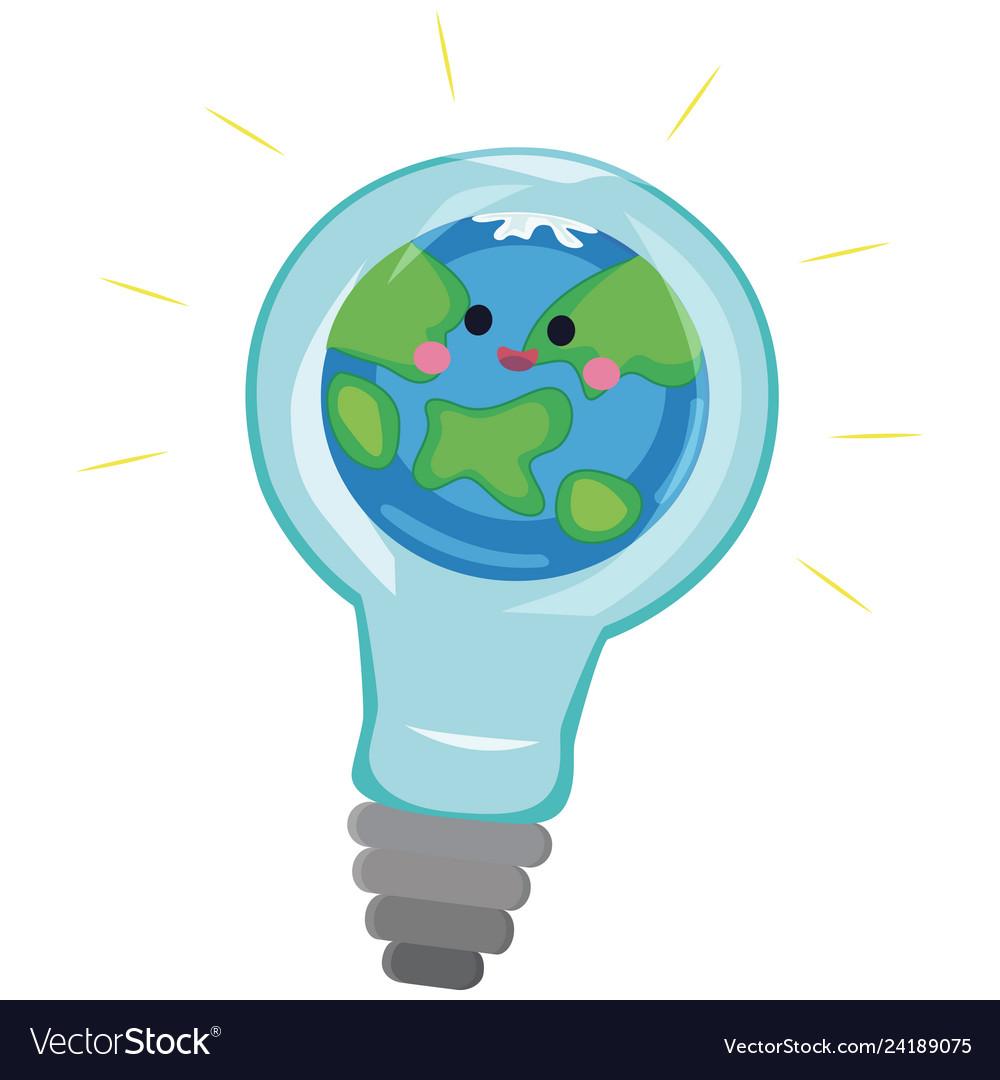 light bulb with world