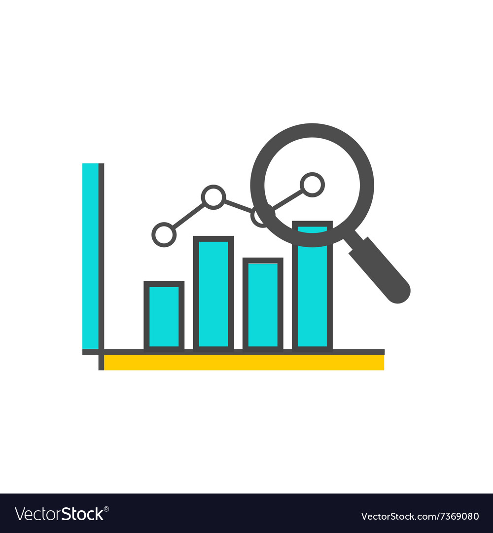 hight resolution of magnifying glass data analysis vector image