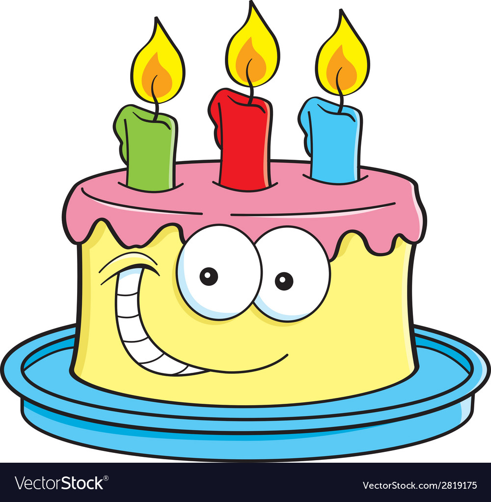 Cartoon Cake With Candles Royalty Free Vector Image