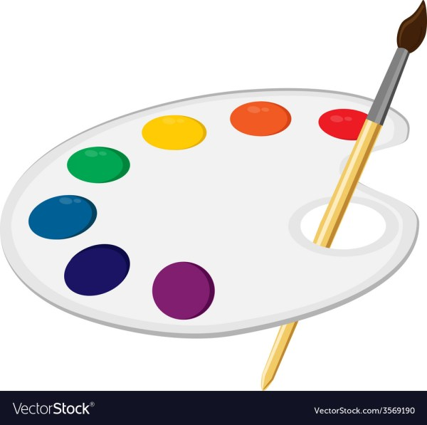 Art Palette With Paintbrush Royalty Free Vector