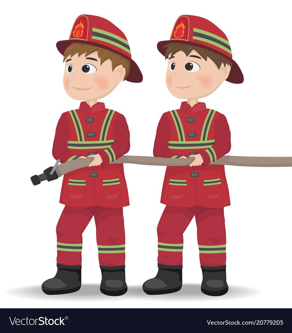 firemen cartoon character equiped