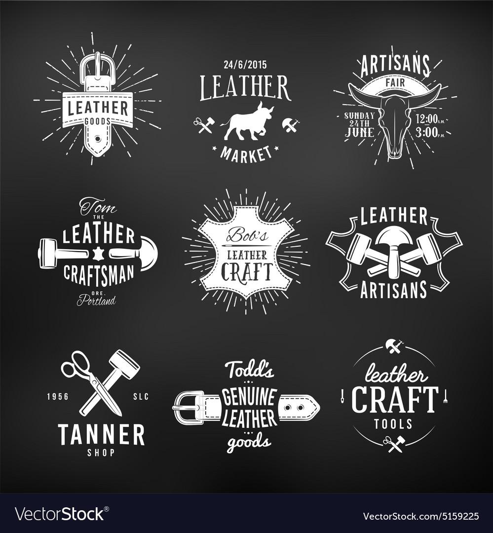Set Of Leather Craft Logo Designs Retro Genuine Vector Image