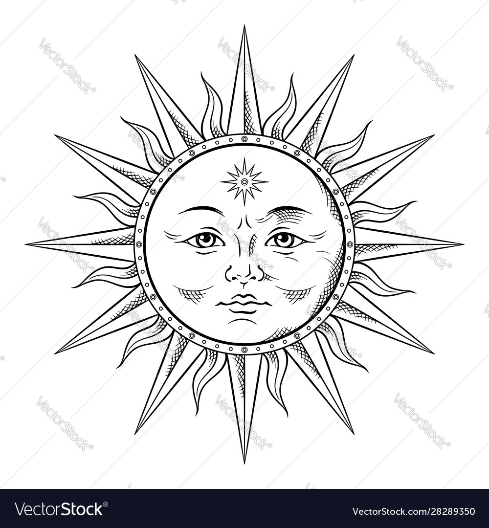 Antique Style Sun Hand Drawn Line Art Boho Chic Vector Image