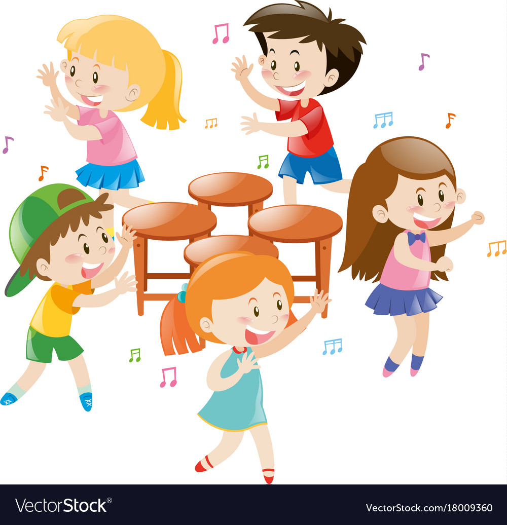 Children playing music chair Royalty Free Vector Image
