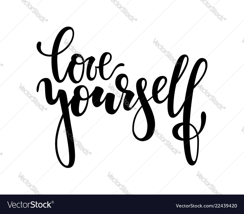 Download Hand drawn lettering of a phrase love yourself Vector Image