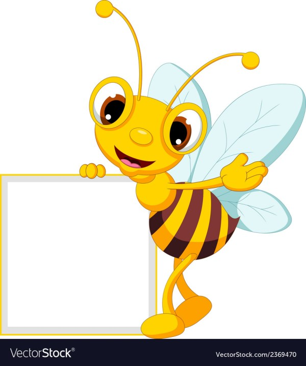 Funny Bee Cartoon Waving And Holding Blank Sign Vector