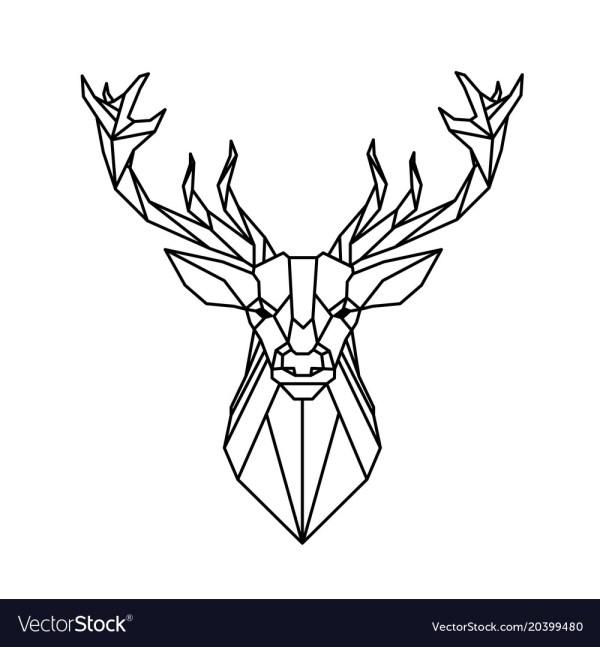 Modern Geometry Reindeer Design Tattoo Imag Vector