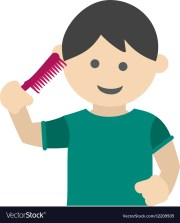 brushing hair royalty free vector