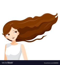Young woman with long curly brown hair Royalty Free Vector