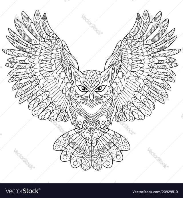 Owl coloring page Royalty Free Vector Image - VectorStock