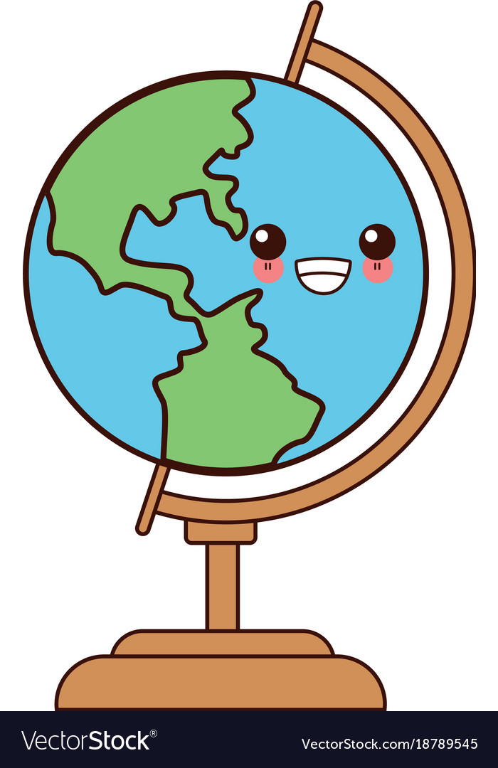 Cute Earth Cartoon : earth, cartoon, School, World, Globe, Kawaii, Cartoon, Royalty, Vector