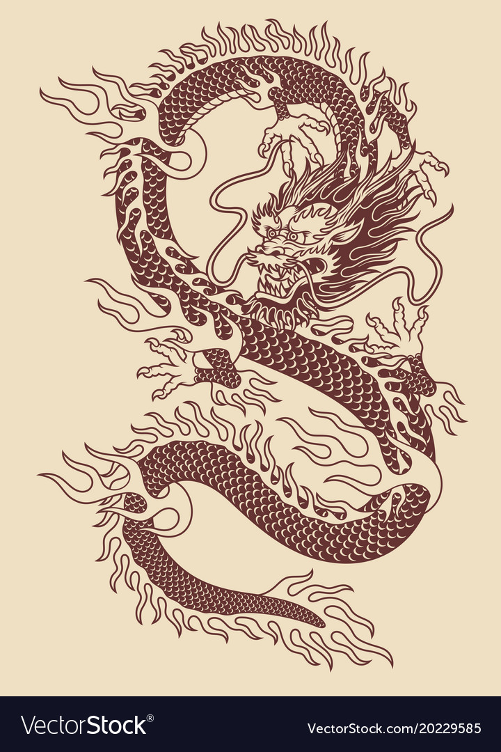 Traditional Dragon : traditional, dragon, Traditional, Asian, Dragon, Royalty, Vector, Image