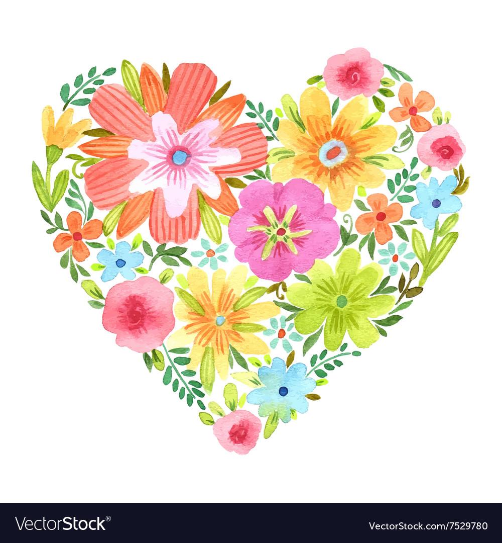 watercolor heart of flowers