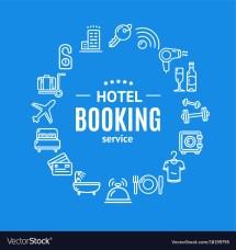 Hotel Booking Design Template Line Icon Vector