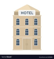 Hotel Building Icon In Cartoon Style Isolated Vector