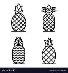 Pineapple icons set outline style Royalty Free Vector Image