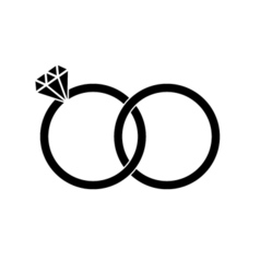 Wedding rings sign icon Engagement symbol Flat Vector Image