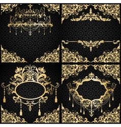 birthday invitation black gold vector