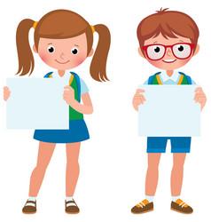 student boy cartoon holding banner students blank hold illustration vector standing length vectorstock schoolchild blackboard julia empty