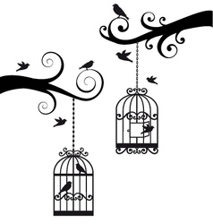 Birdcage and chandelier Royalty Free Vector Image