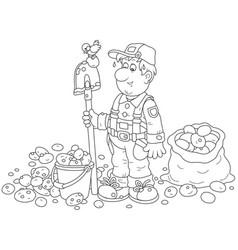 Digging man cartoon coloring page Royalty Free Vector Image