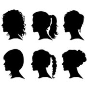 girl curly hair silhouette vector