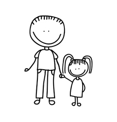 Father and Daughter Sketch Vector Images (over 440)
