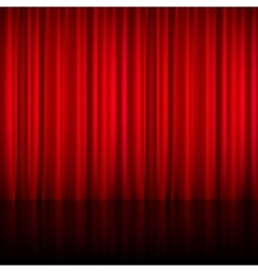 Realistic Red Theatrical Closed Curtain Vector