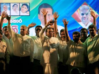 Sirisena and opposition leaders wave