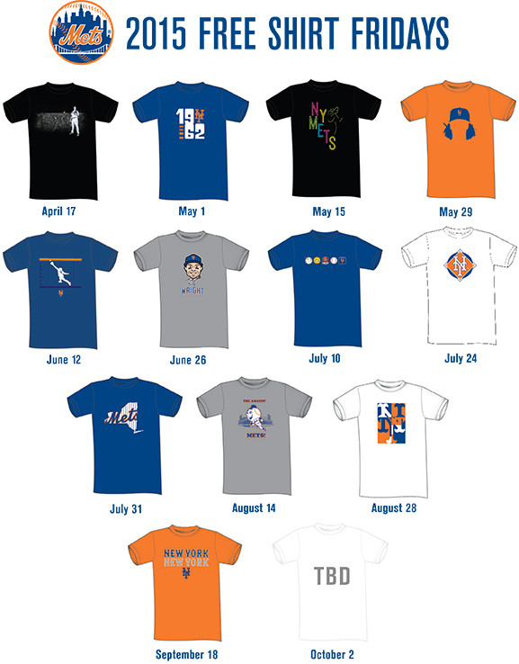 Mets release 2015 promotional schedule Free Shirt Friday