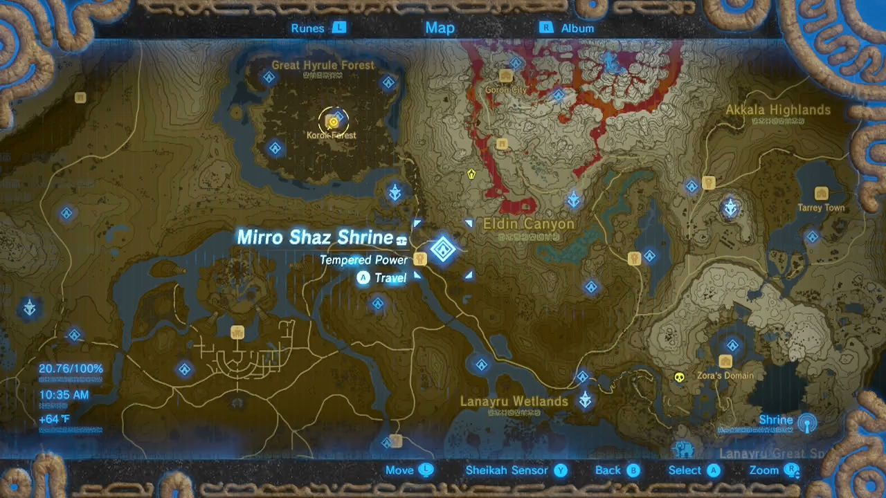Zelda Breath of the Wild guide Mirro Shaz shrine