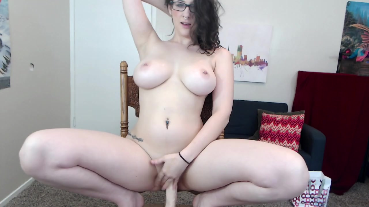 Dildo Rocking Chair Busty Girl And The Big Dildo