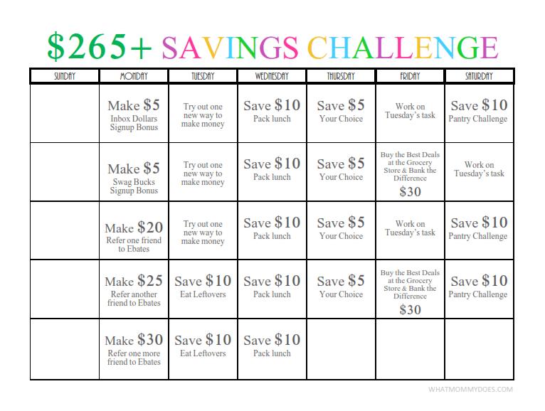 265 One Month Money Challenge Free Printable