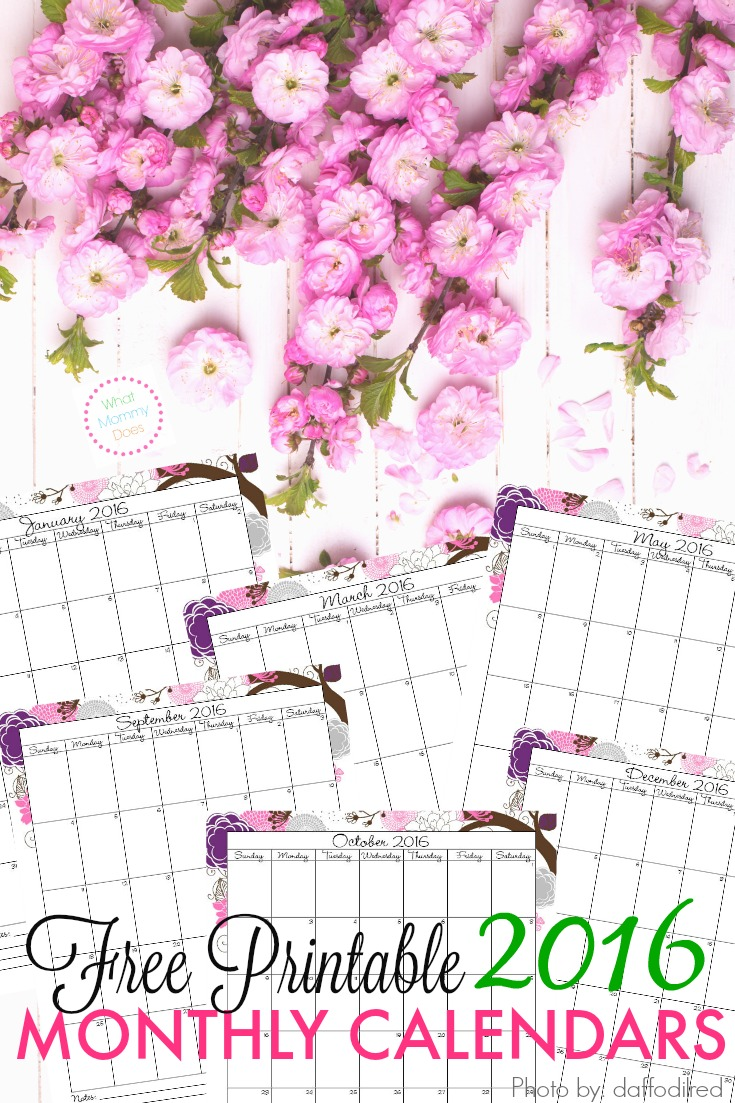 blank monthly calendars 2015