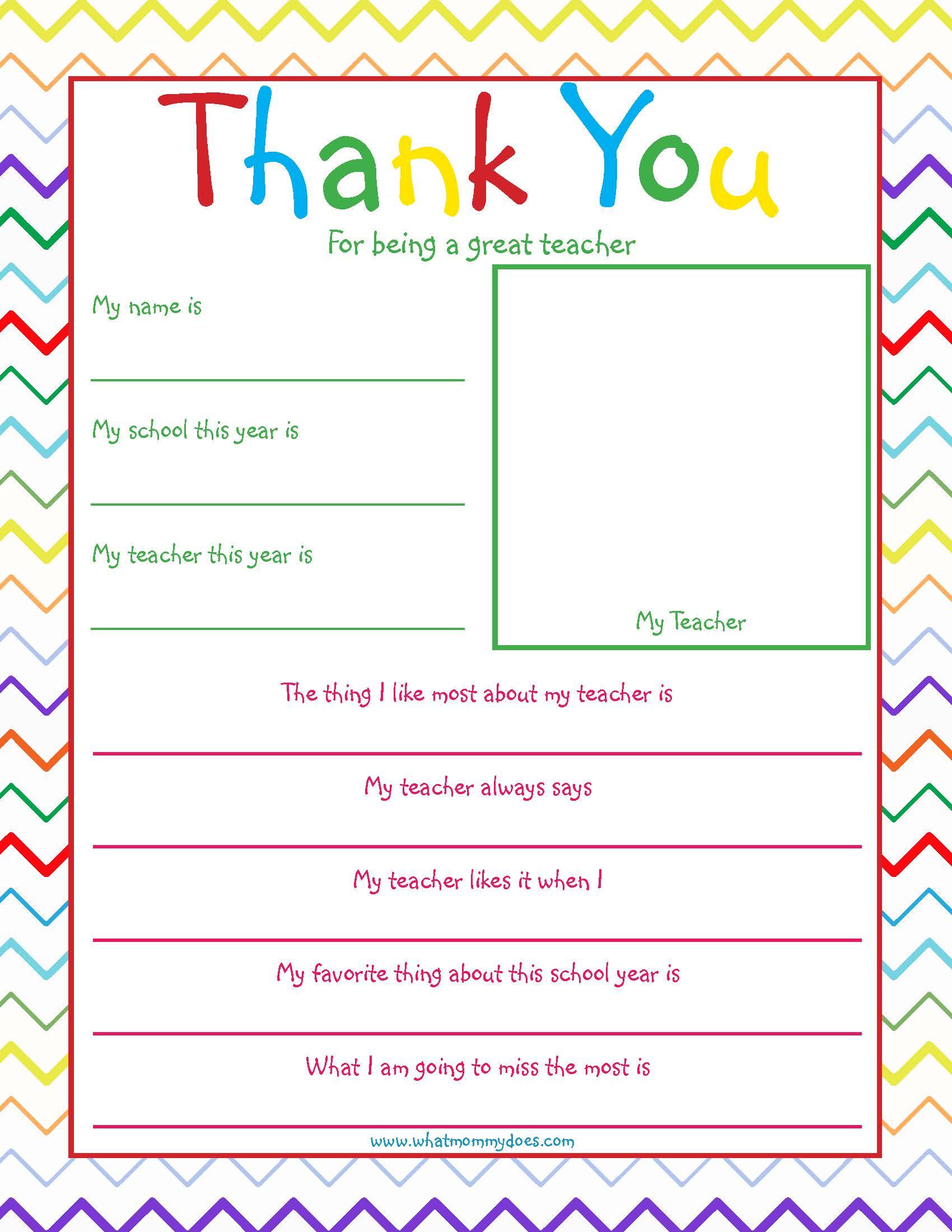 Free Printable Teacher Thank You Note