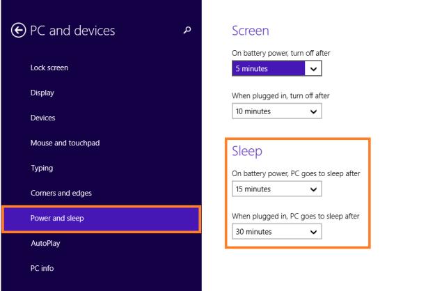 Windows 8 Sleep - Настройки питания и сна 2 - WindowsWally